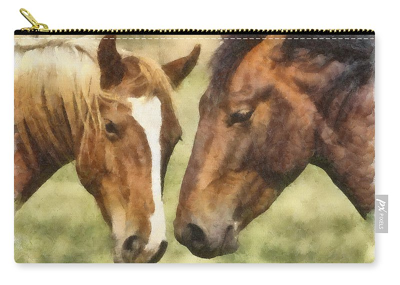 Horse Carry-all Pouch featuring the photograph Two Horses by Ingrid Smith-Johnsen