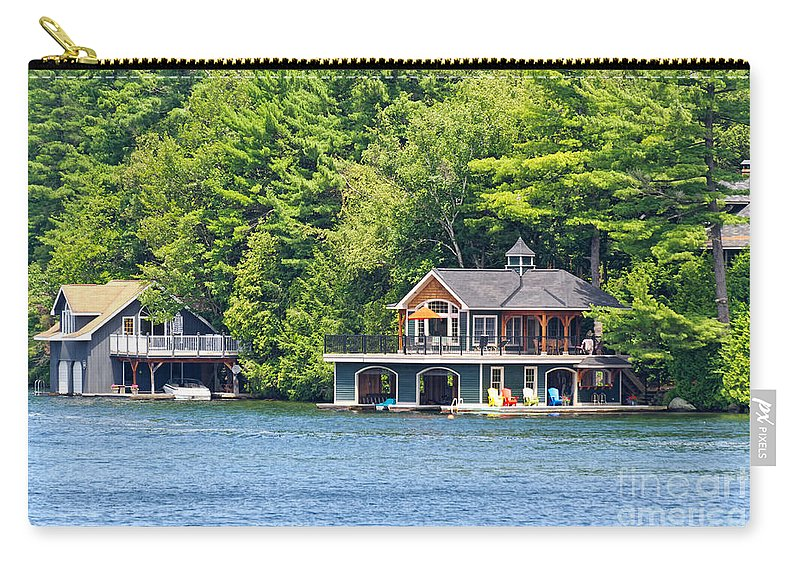 Two Carry-all Pouch featuring the photograph Two Luxury Boathouses by Les Palenik