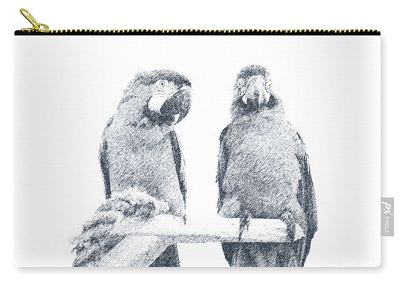 Two Macaws Carry-all Pouch featuring the digital art Two Macaws by Victoria Harrington