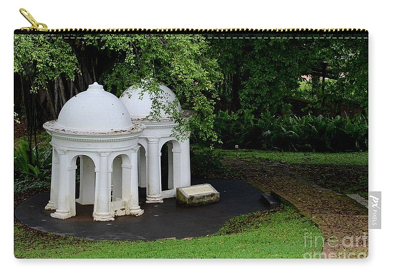 Architecture Carry-all Pouch featuring the photograph Two Meditating Cupolas In Fort Canning Park Singapore by Imran Ahmed