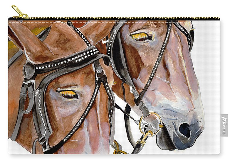 Mules Carry-all Pouch featuring the painting Two Mules - Enhanced Color - Farmer's Friend by Jan Dappen