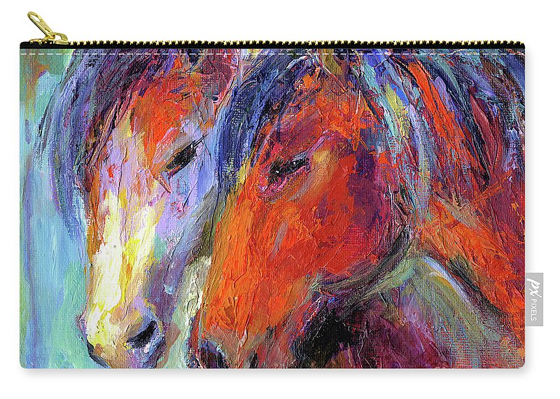 Mustang Horse Prints Carry-all Pouch featuring the painting Two Mustang Horses Painting by Svetlana Novikova