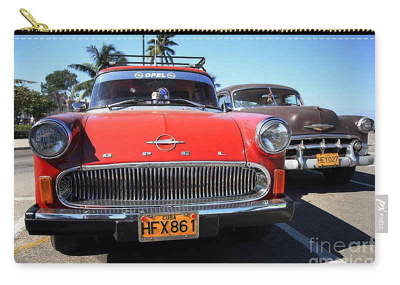1960's Style Carry-all Pouch featuring the photograph Two Old American Cars by Deborah Benbrook