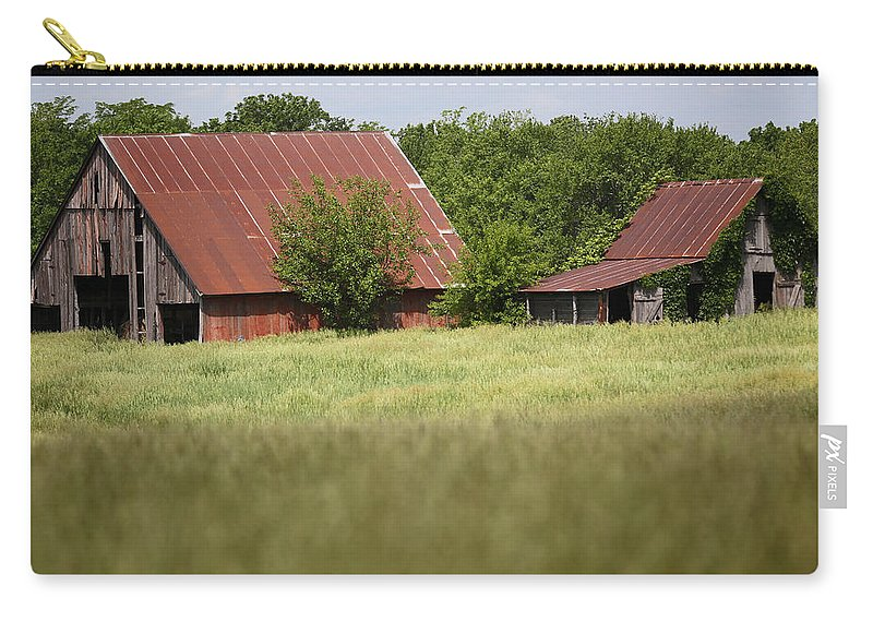 Kansas Carry-all Pouch featuring the photograph Two Old Barns by Lynn Sprowl