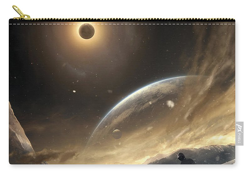 Vertical Carry-all Pouch featuring the digital art Two Persons Trying To Find Their Way by Tobias Roetsch