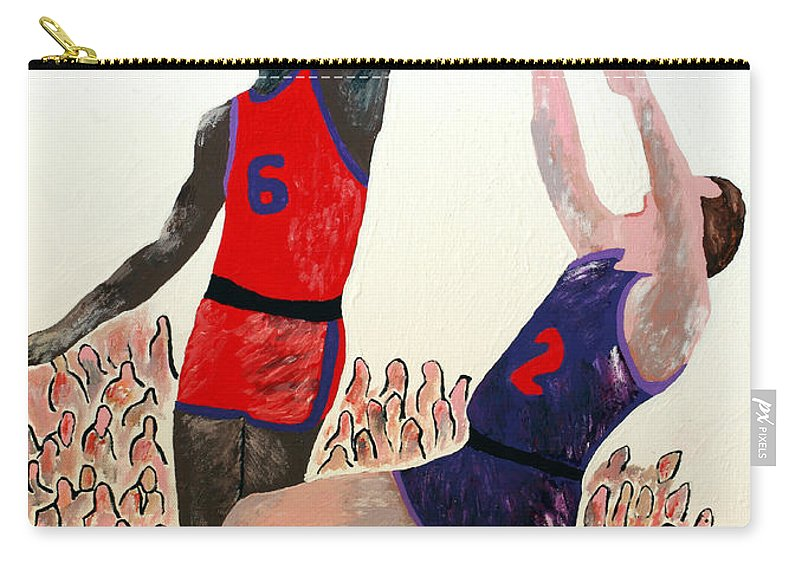 Basketball Carry-all Pouch featuring the painting Two Points by Andrew Petras