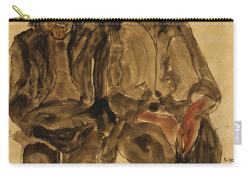 Austrian Art; Austrian Artist; Aversion; Boys Carry-all Pouch featuring the painting Two Seated Boys by Egon Schiele