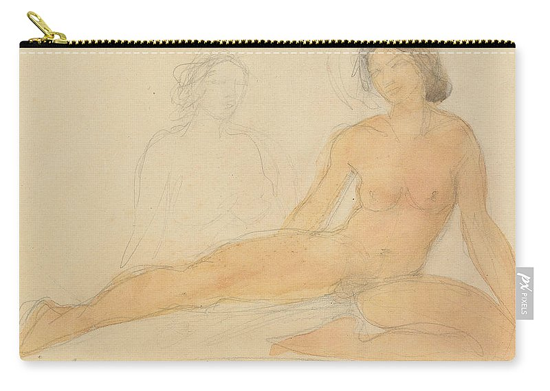 Rodin Carry-all Pouch featuring the drawing Two Seated Nudes by Auguste Rodin