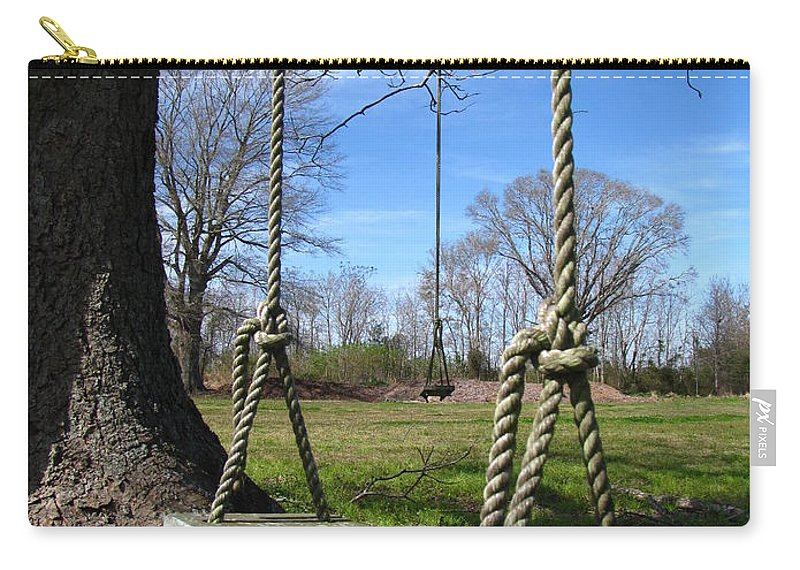 Swings Carry-all Pouch featuring the photograph Two Swings by Beth Vincent