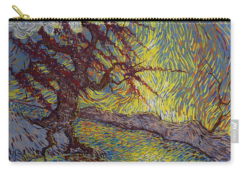 Landscape Carry-all Pouch featuring the painting Two Turtles On A Stump by Stefan Duncan