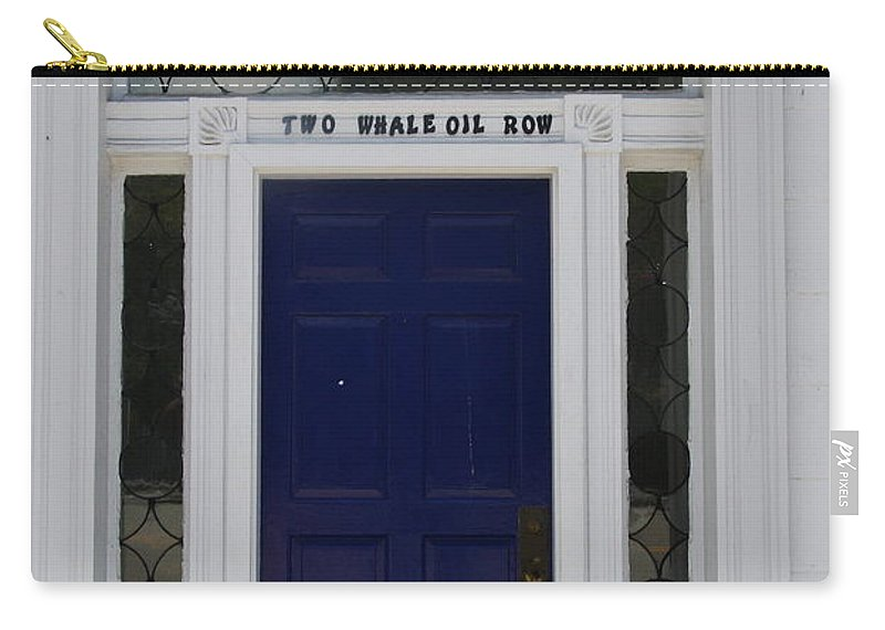 Whale Oil Row Carry-all Pouch featuring the photograph Two Whale Oil Row - Blue Door - New London by Christiane Schulze Art And Photography