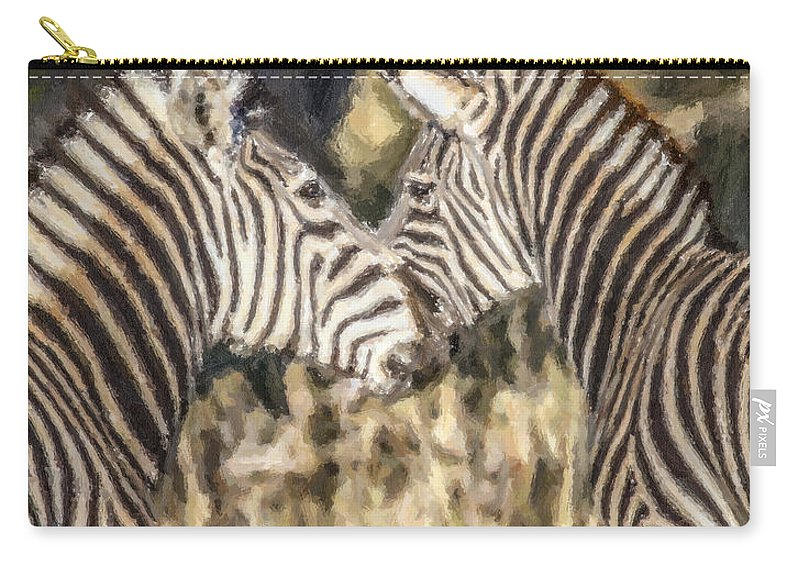 Zebra Carry-all Pouch featuring the digital art Two Zebras Equus Quagga Nuzzlling by Liz Leyden