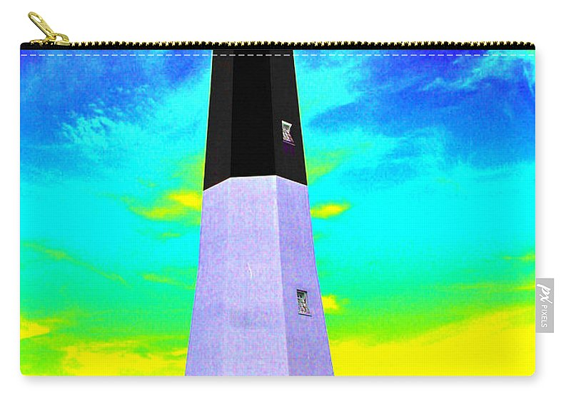 Tybee Island Lighthouse Carry-all Pouch featuring the photograph Tybee Island Lighthouse - Photopower by Pamela Critchlow