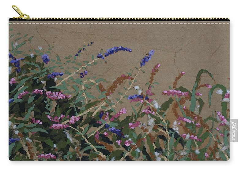 Flowering Butterfly Bush Carry-all Pouch featuring the painting Tyler by Leah Tomaino