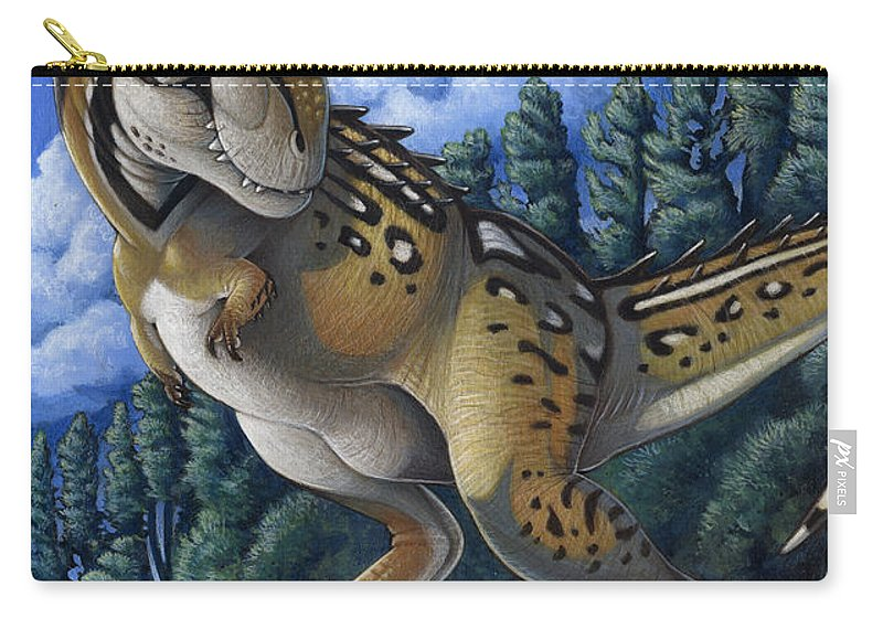 Illustration Technique Carry-all Pouch featuring the digital art Tyrannosaurus Rex Running Through Water by H. Kyoht Luterman