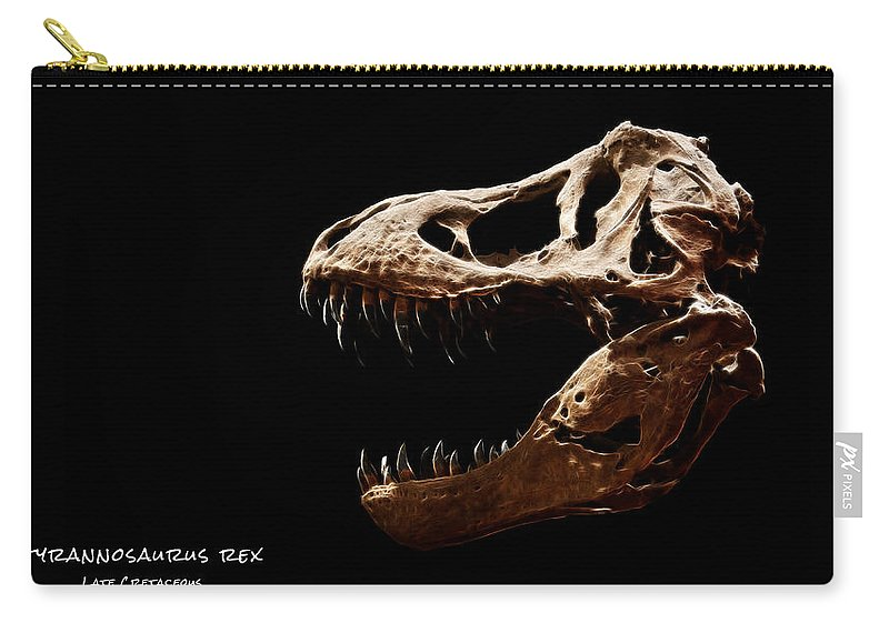 Tyrannosaurus Rex Skull Carry-all Pouch featuring the photograph Tyrannosaurus Rex Skull 4 by Weston Westmoreland