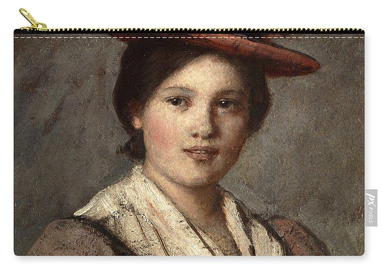 Franz Von Defregger Carry-all Pouch featuring the painting Tyrolean Dirndl With Straw Hat by Franz Von Defregger