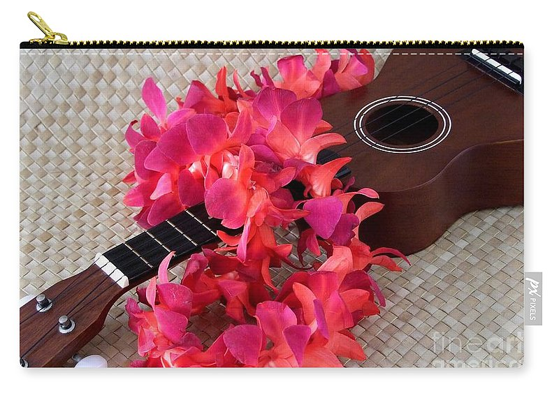 Ukulele Carry-all Pouch featuring the photograph Ukulele And Red Lei by Mary Deal