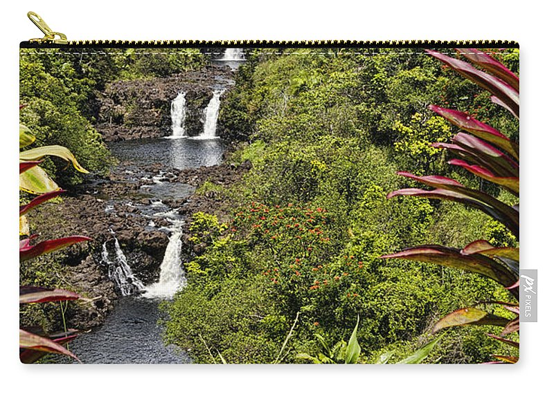Umauma Falls Carry-all Pouch featuring the photograph Umauma Falls by Mike Herdering