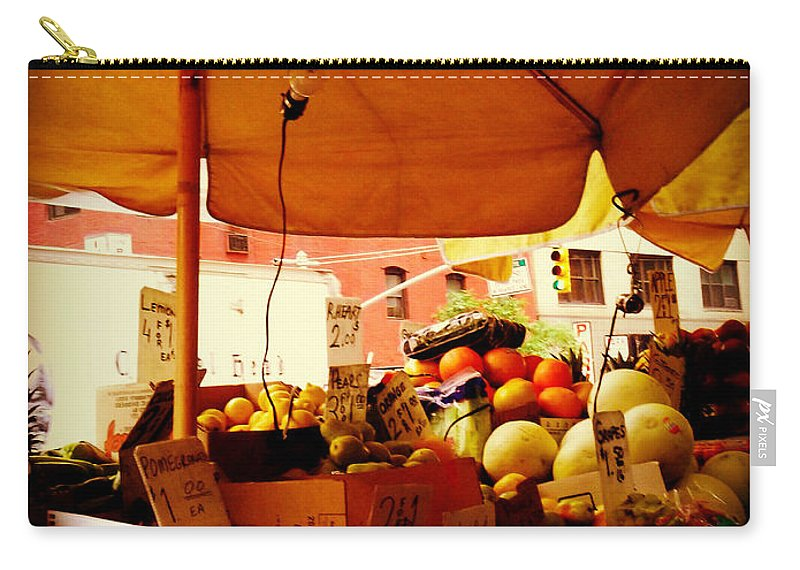 Fruitstand Carry-all Pouch featuring the photograph Umbrella Fruitstand - Autumn Bounty by Miriam Danar