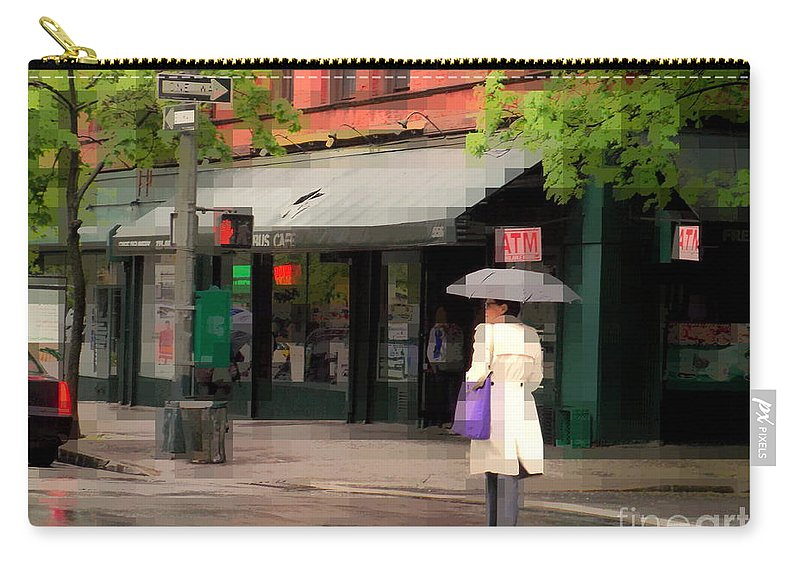 Cafes Of New York Carry-all Pouch featuring the photograph The Purple Bag - New York City In The Rain by Miriam Danar