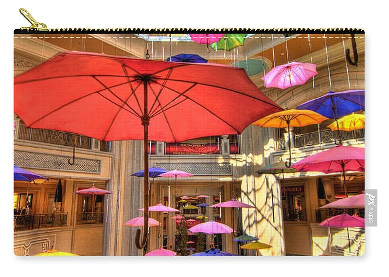 Art Carry-all Pouch featuring the photograph Umbrellas At Palazzo Shops by Amy Cicconi