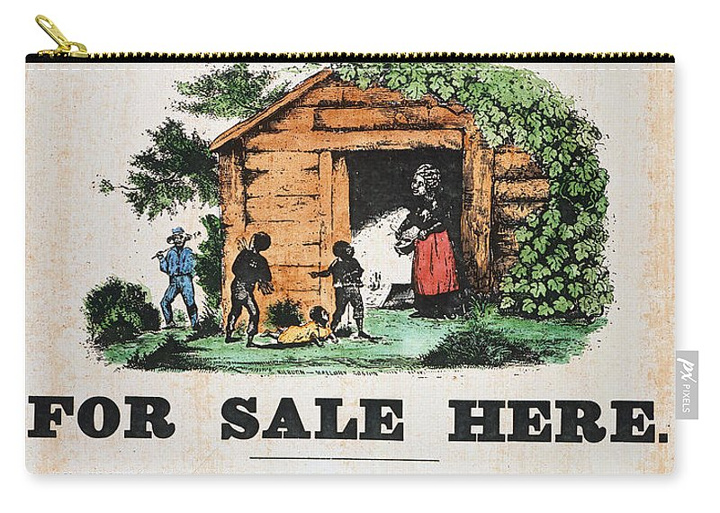 1860 Carry-all Pouch featuring the painting Uncle Tom's Cabin, C1860 by Granger