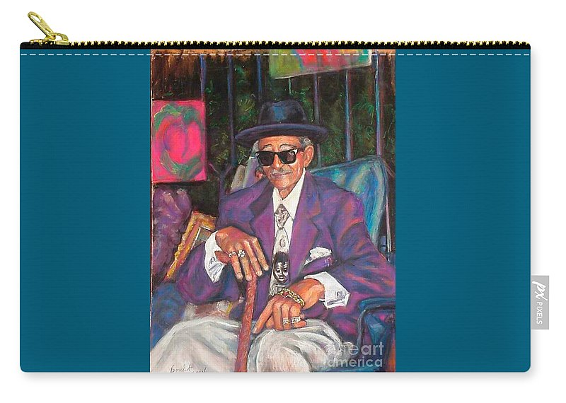 New Orleans Musician Carry-all Pouch featuring the painting Uncle With Time On His Hands by Beverly Boulet