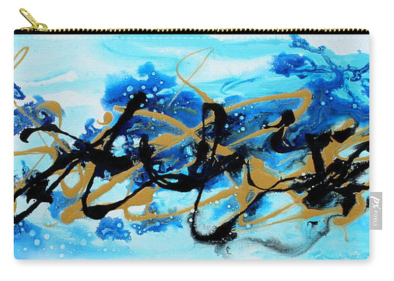Sophisticated Carry-all Pouch featuring the painting Under The Sea Original Abstract Blue Gold Painting By Madart by Megan Duncanson