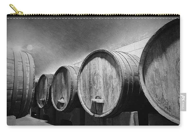 Alcohol Carry-all Pouch featuring the photograph Underground Wine Cellar With Wooden by Feellife