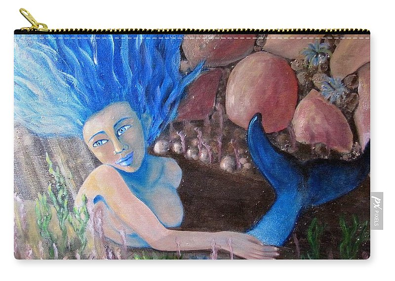 Mermaid Carry-all Pouch featuring the painting Underwater Wonder by Laurie Morgan