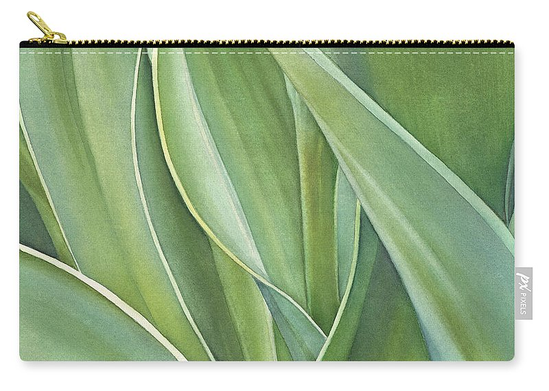 Leaves Carry-all Pouch featuring the painting Unfolding Tulip Leaves by Sandy Haight