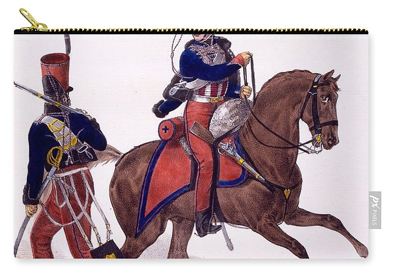 Soldiers Carry-all Pouch featuring the drawing Uniforms Of The 5th Hussars Regiment by Charles Aubry