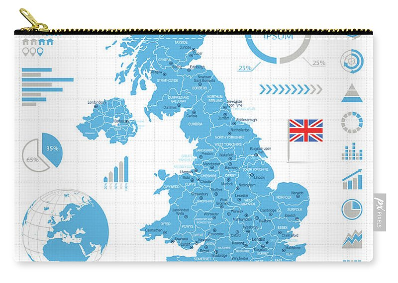 Globe Carry-all Pouch featuring the digital art United Kingdom - Infographic Map - by Pop jop