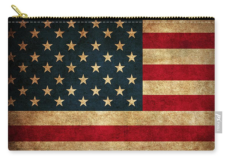 United States American Usa Flag Vintage Distressed Finish On Worn Canvas Carry-all Pouch featuring the mixed media United States American USA Flag Vintage Distressed Finish on Worn Canvas by Design Turnpike