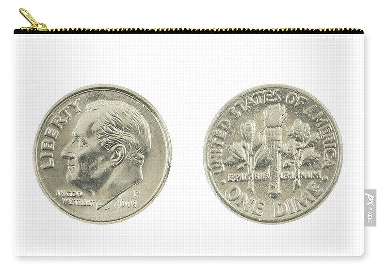 Dime Carry-all Pouch featuring the photograph United States Dime On White Background by Keith Webber Jr