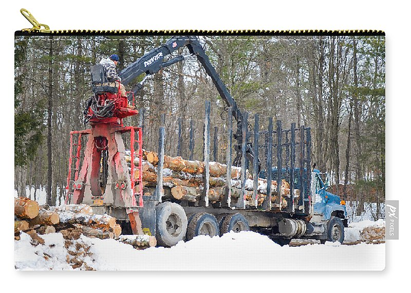 Autumn Carry-all Pouch featuring the painting Unloading Firewood 2 by Jeelan Clark