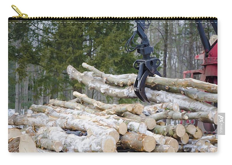 Autumn Carry-all Pouch featuring the painting Unloading Firewood 4 by Jeelan Clark