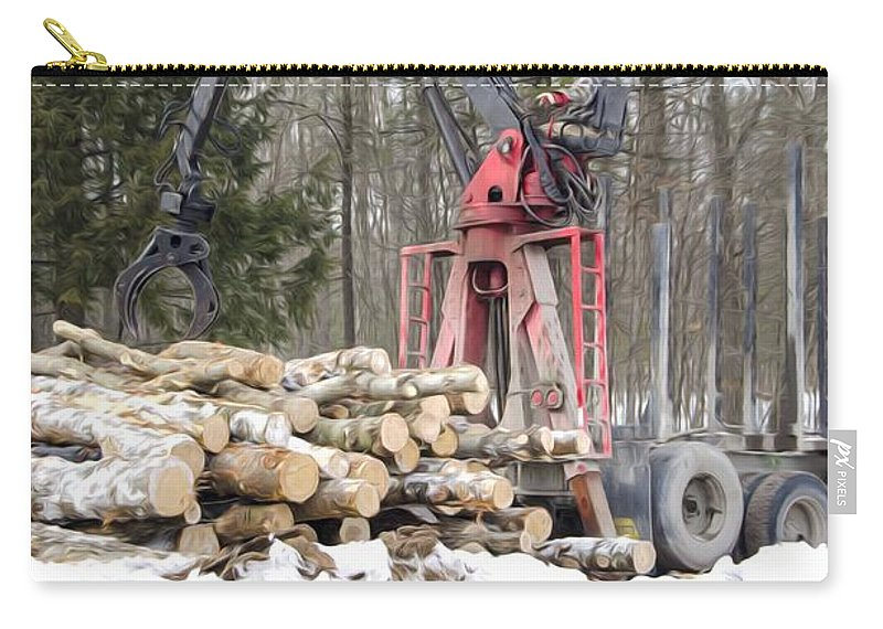 Autumn Carry-all Pouch featuring the painting Unloading Firewood 5 by Jeelan Clark