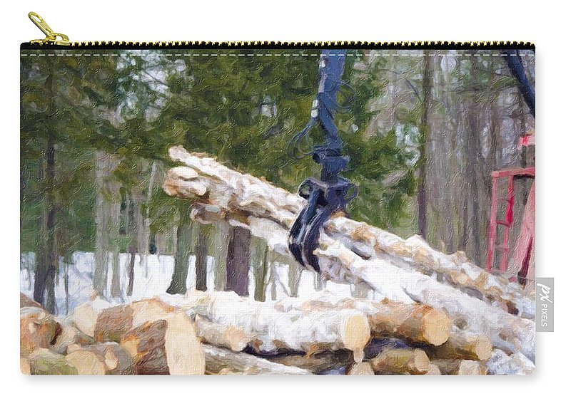Autumn Carry-all Pouch featuring the painting Unloading Firewood 8 by Jeelan Clark