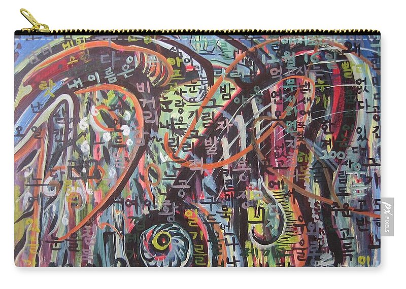 Abstract Paintings Carry-all Pouch featuring the painting Unread Poem22-abstract Painting by Seon-Jeong Kim