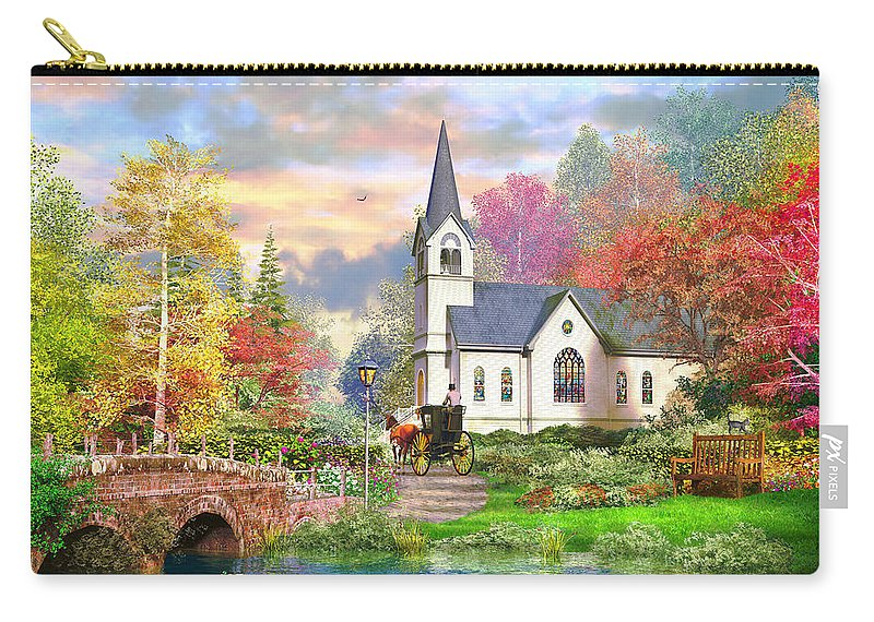 Cottage Carry-all Pouch featuring the photograph Autumnal Church by MGL Meiklejohn Graphics Licensing