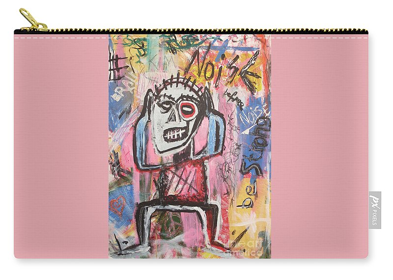 Untitled Carry-all Pouch featuring the painting Untitled Noise by Bela Manson