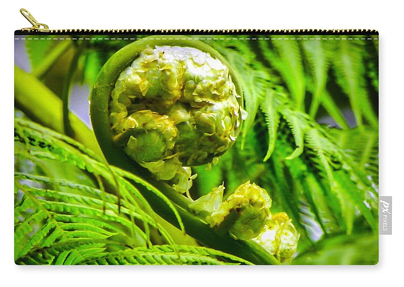 Green Carry-all Pouch featuring the photograph Unveiling Life by Karen Wiles