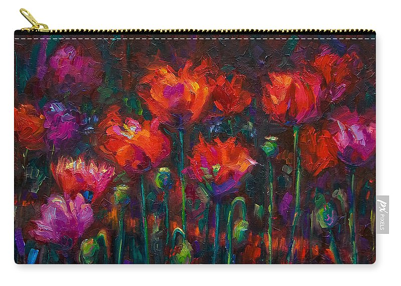 Poppy Carry-all Pouch featuring the painting Up From The Ashes by Talya Johnson