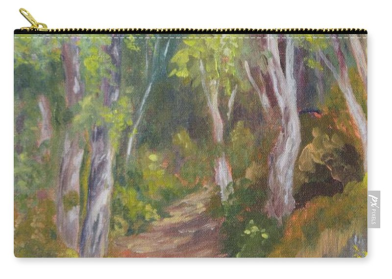 Trail Carry-all Pouch featuring the painting Uphill Path-batiquitos by Inka Zamoyska