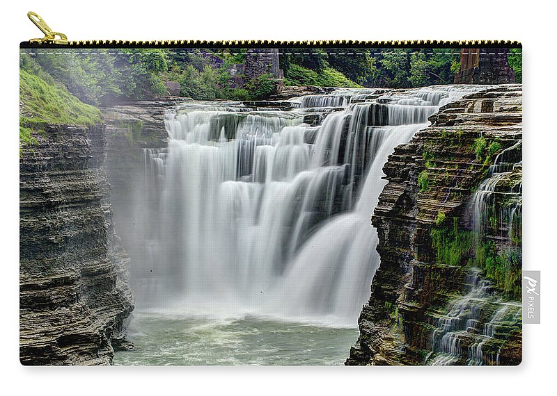 Letchworth State Park Carry-all Pouch featuring the photograph Upper Letchworth Falls by Tony Shi Photography