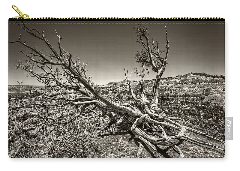 Bryce Canyon Carry-all Pouch featuring the photograph Uprooted - Bryce Canyon Sepia by Tammy Wetzel