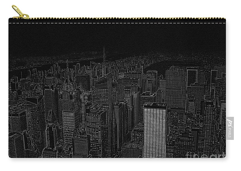 Nyc Carry-all Pouch featuring the digital art Uptown Nyc White On Black by Meandering Photography