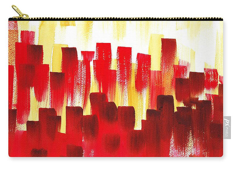 Abstract Carry-all Pouch featuring the painting Urban Abstract Red City Lights by Irina Sztukowski